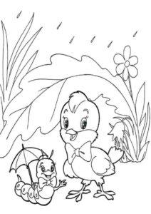 Цыпленнок и гусеница прячутся от дождя бесплатная раскраска - Лето