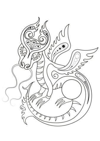 Декоративный дракон (Драконы) распечатать разукрашку