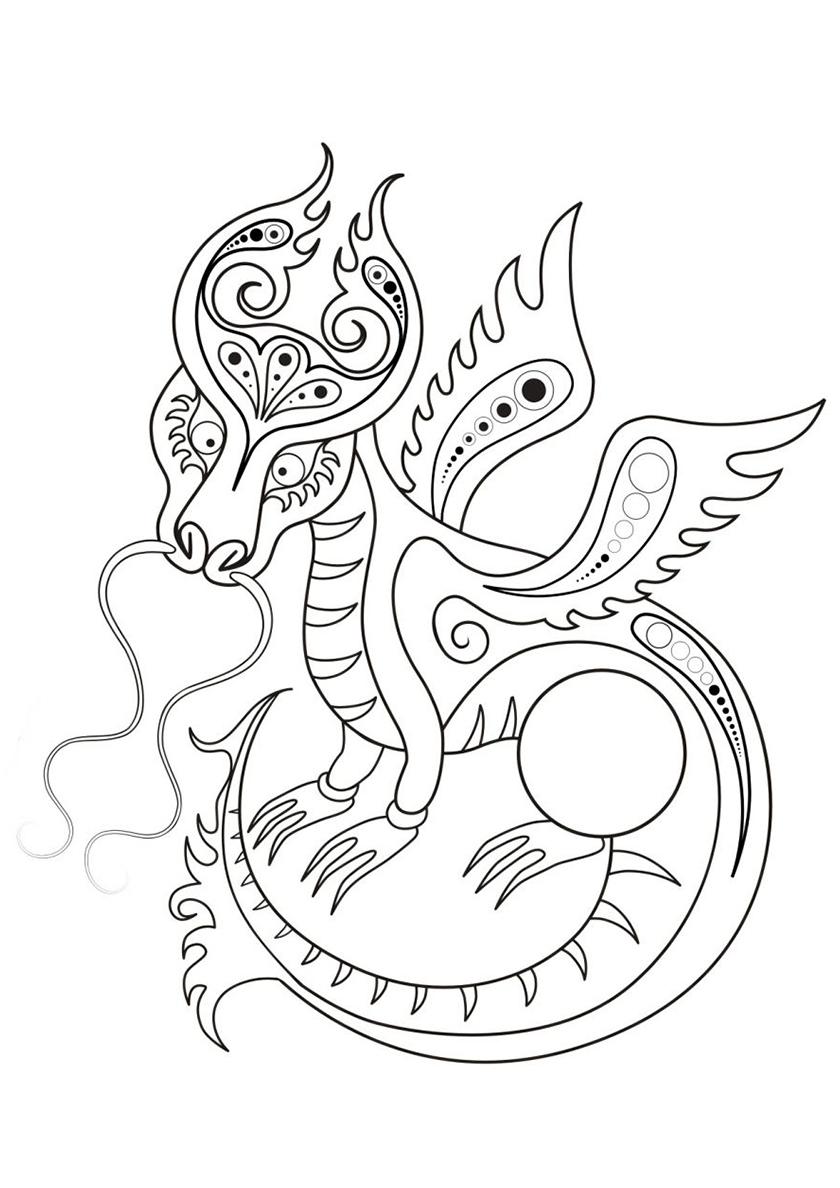 Раскраска Декоративный дракон распечатать   Драконы