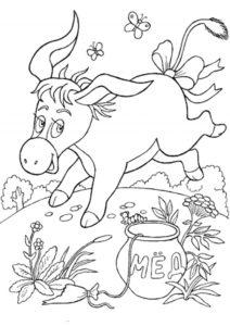 Винни Пух бесплатная раскраска распечатать на А4 - День рождения Иа