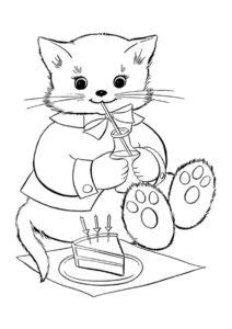 День рождения кошечки раскраска распечатать на А4 - Коты, кошки, котята