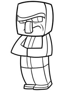 Бесплатная раскраска Деревенский житель в мультяшном стиле - Майнкрафт