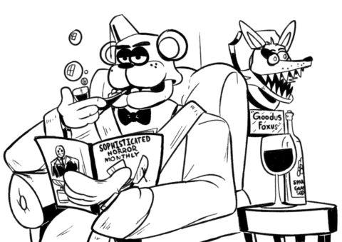 Детектив Фредди (ФНАФ и Аниматроники) разукрашка для печати на А4