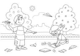 Дети делают и запускают самолетики раскраска распечатать бесплатно на А4 - Лето
