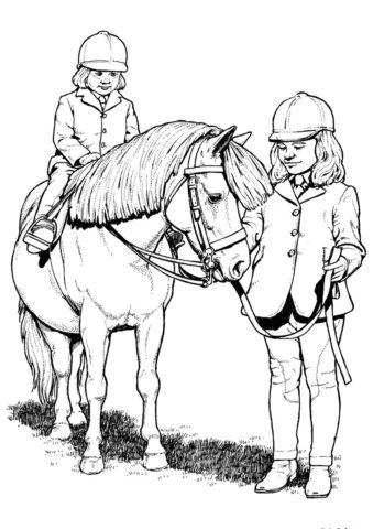 Разукрашка Дети и пони распечатать и скачать - Лошади и пони
