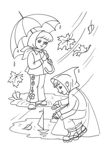 Осень бесплатная разукрашка - Дети играют под дождем