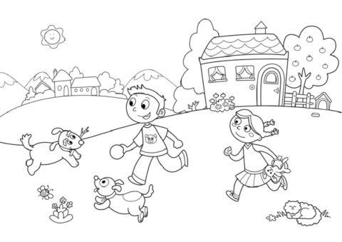 Дети играют с щенятами (Лето) распечатать разукрашку