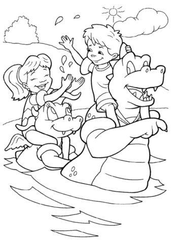 Дети на драконах (Лето) распечатать бесплатную раскраску