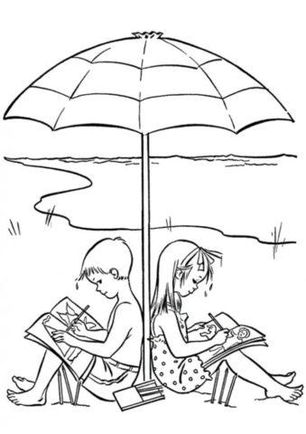 Бесплатная раскраска Дети на природе под зонтиком распечатать на А4 и скачать - Лето
