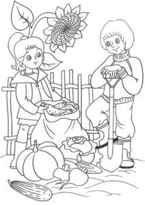 Дети собирают урожай разукрашка скачать и распечатать - Лето