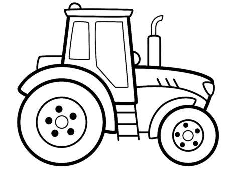 Распечатать раскраску Детский трактор - Трактора