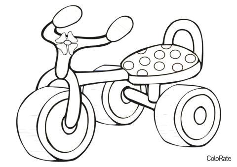 Детский трёхколесный велосипед распечатать разукрашку бесплатно - Велосипеды