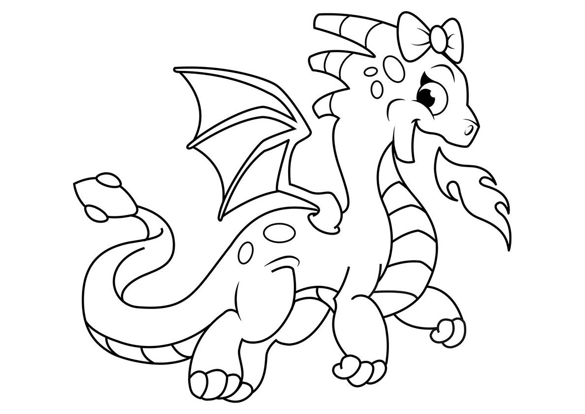 Раскраска Девочка-дракон распечатать | Драконы
