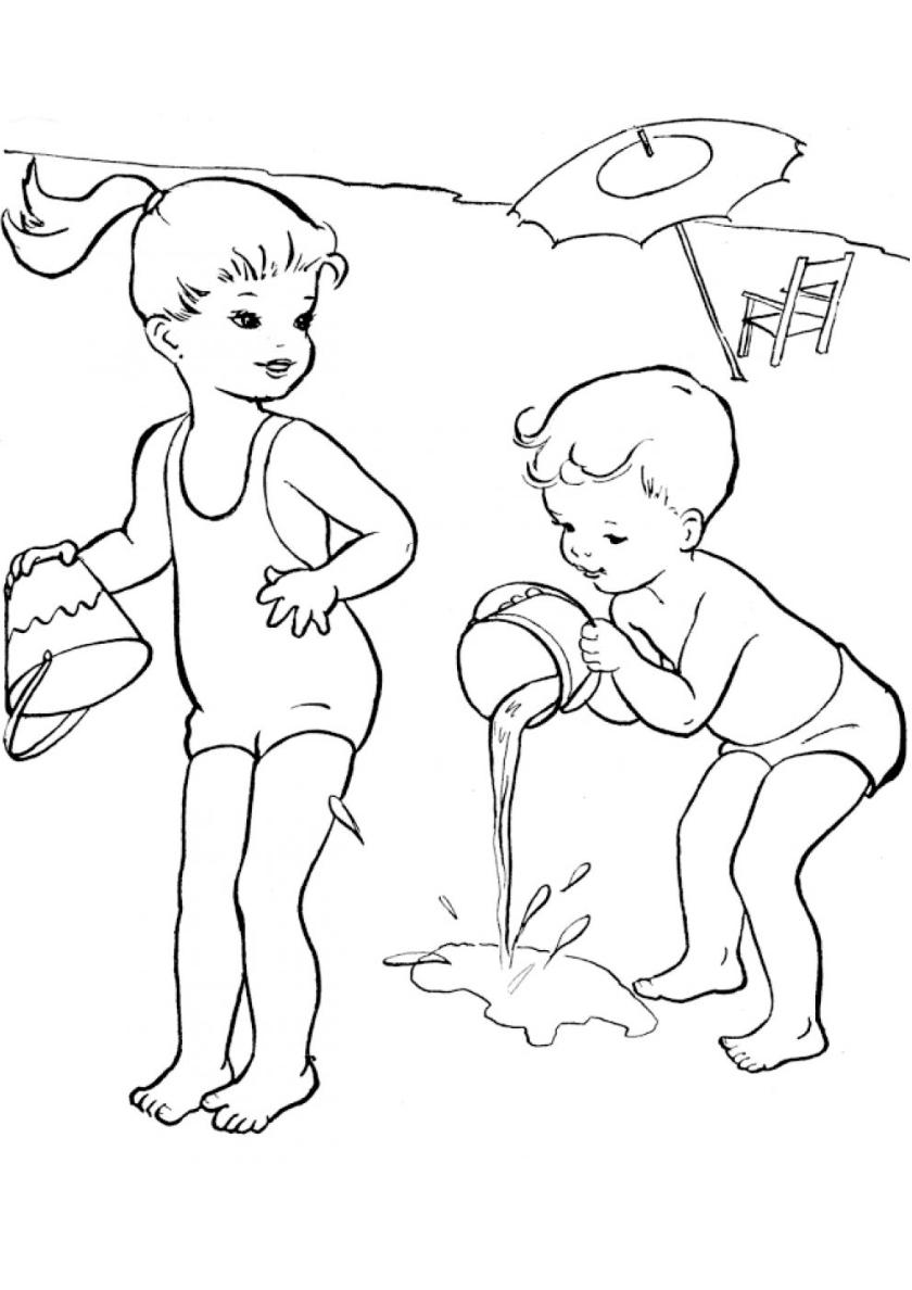 Раскраска Девочка и мальчик с ведерками распечатать | Лето