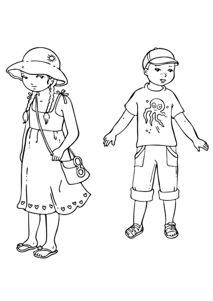 Раскраска Девочка и мальчик распечатать | Лето