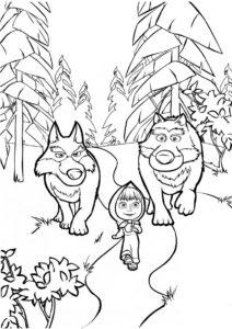 Маша и Медведь распечатать раскраску на А4 - Девочка и волки