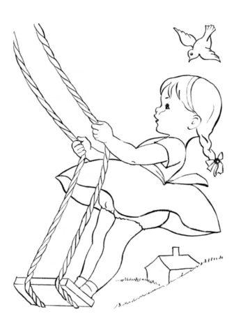 Бесплатная раскраска Девочка качается на качели - Лето