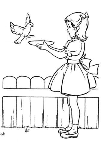 Бесплатная раскраска Девочка кормит птичку распечатать на А4 - Весна