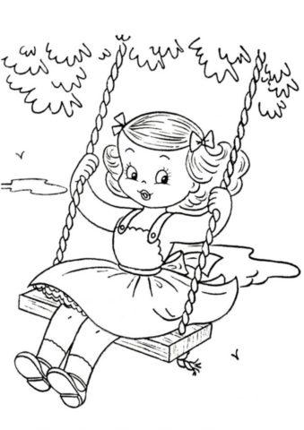 Девочка на качелях - Лето бесплатная раскраска