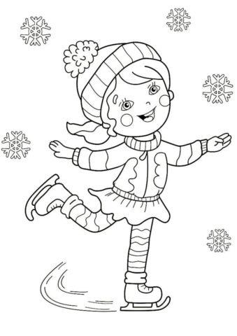 Разукрашка Девочка на катке распечатать и скачать - Зима