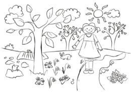 Девочка на тропинке раскраска распечатать бесплатно на А4 - Весна