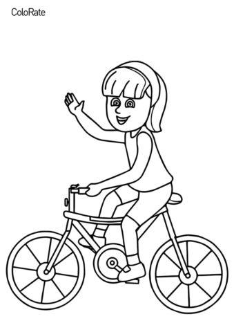 Разукрашка Девочка на велосипеде распечатать на А4 и скачать - Велосипеды