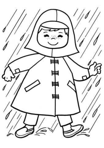 Бесплатная раскраска Девочка под дождем распечатать и скачать - Весна