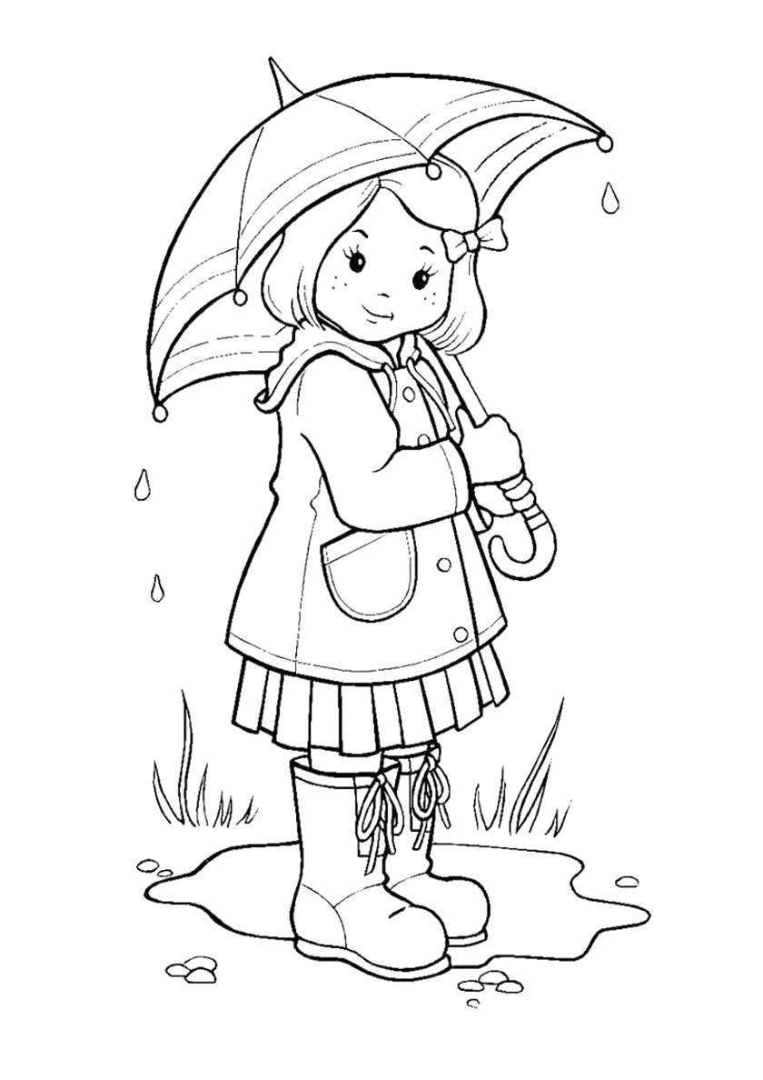 Раскраска Девочка под зонтом распечатать | Осень