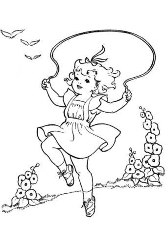 Разукрашка Девочка прыгает через скакалку распечатать на А4 - Лето
