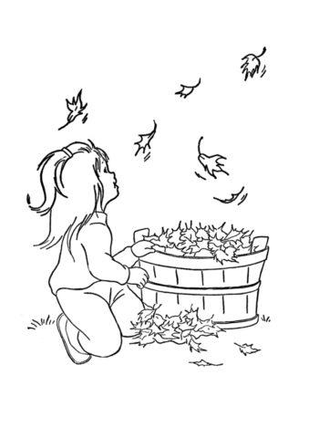 Бесплатная раскраска Девочка с корзиной листьев распечатать на А4 и скачать - Осень