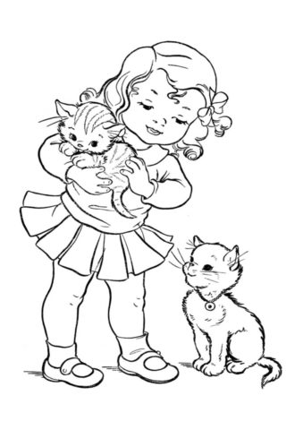 Бесплатная раскраска Девочка с котятами распечатать на А4 и скачать - Коты, кошки, котята
