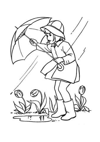 Распечатать раскраску Девочка с зонтом - Осень