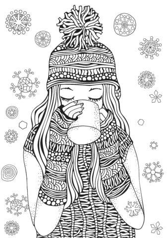 Зима бесплатная разукрашка - Девочка-снежинка