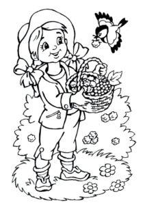 Бесплатная разукрашка для печати и скачивания Девочка собирает ягоды - Лето