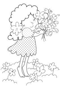 Девочка в цветах распечатать и скачать раскраску - Весна