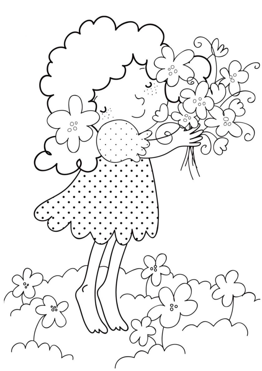 Раскраска Девочка в цветах распечатать | Весна