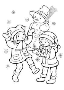 Зима бесплатная разукрашка - Девочки играют со снежинками