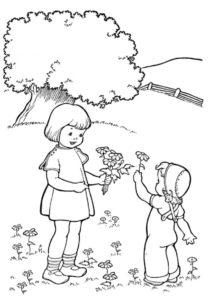 Бесплатная разукрашка для печати и скачивания Девочки собирают цветы - Весна