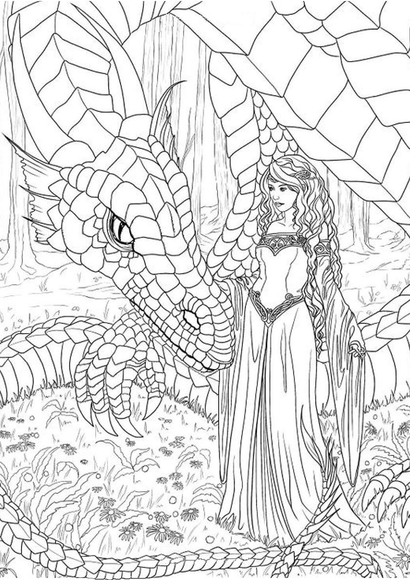 Раскраска Девушка и волшебный дракон распечатать | Драконы