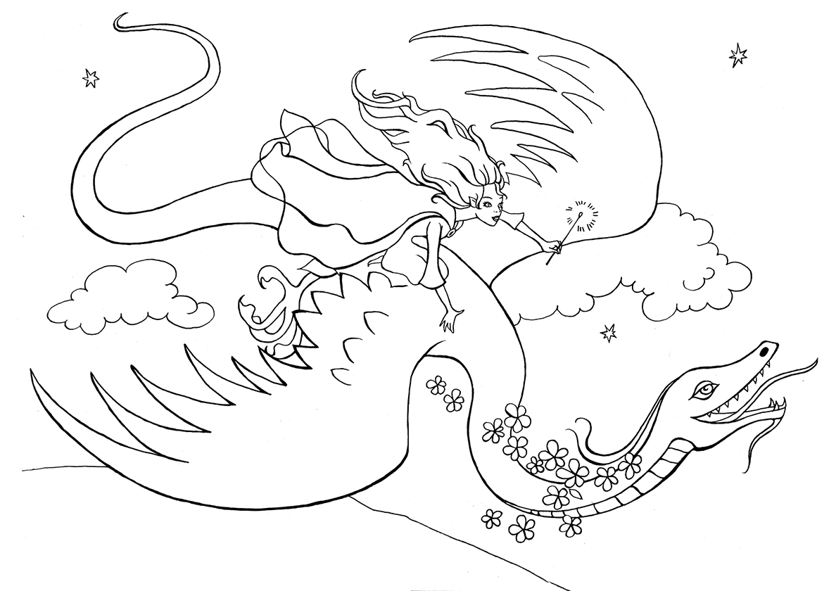 Раскраска Девушка на летящем драконе распечатать | Драконы
