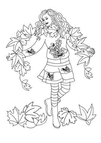 Бесплатная раскраска Девушка-осень - Осень