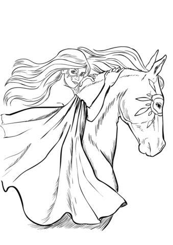 Лошади и пони бесплатная раскраска - Девушка с лошадью
