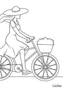 Раскраска Девушка в шляпе катается распечатать на А4 и скачать - Велосипеды