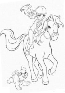 Лошади и пони бесплатная разукрашка - Девушка верхом на лошади