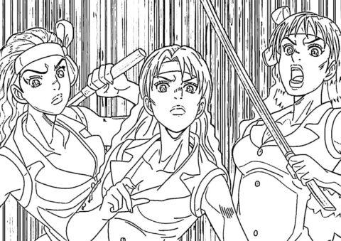 Девушки (Невероятные приключения ДжоДжо) распечатать раскраску