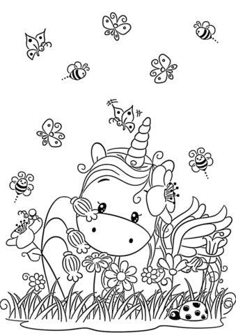Дивный сад раскраска распечатать на А4 - Единороги