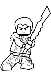 LEGO Ниндзяго бесплатная раскраска - Джей с мечом