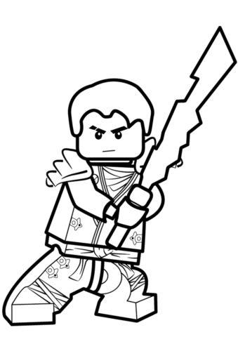 Раскраска Джей с мечом распечатать | LEGO Ниндзяго