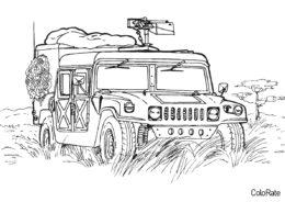 Бесплатная разукрашка для печати и скачивания Джип Hummer - Военные