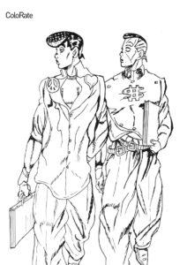 Джоске и Окуясу бесплатная раскраска - Невероятные приключения ДжоДжо
